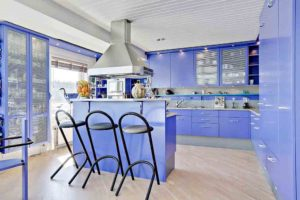 Urban cool blue kitchen decor