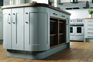 Wooden light blue kitchen