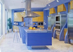 blue kitchen with stylish texture