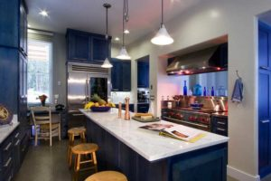 dark blue kitchen cabinets