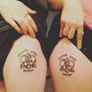 diamond heart sister tattoos
