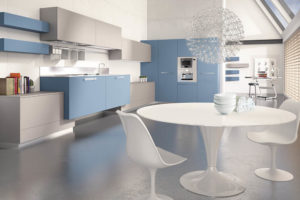 minimalist blue white kitchen theme