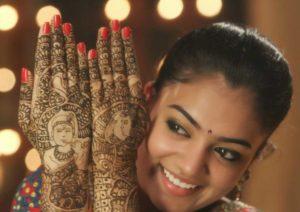 radha krishna back hand mehndi design