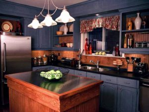 rustic blue kitchen with wooden touch