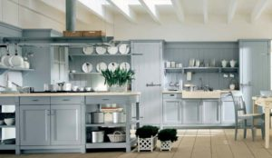 simply elegant light blue kitchen