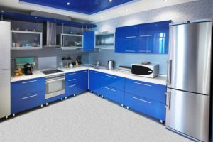 vintage blue glossy kitchen design