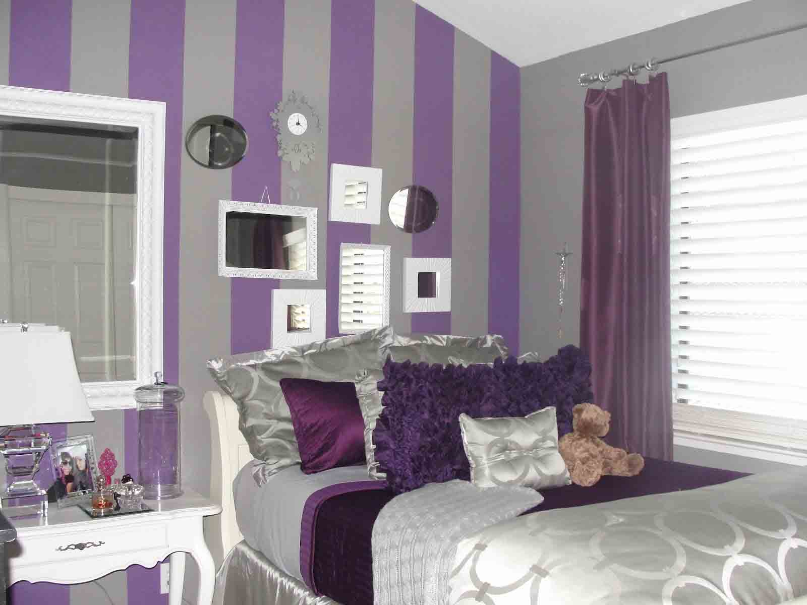 Chic Purple Grey Bedroom Design