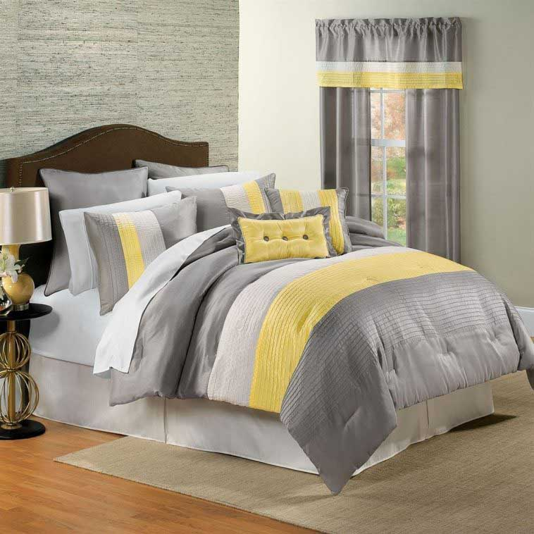 Cool Yellow Grey Bedroom Concept