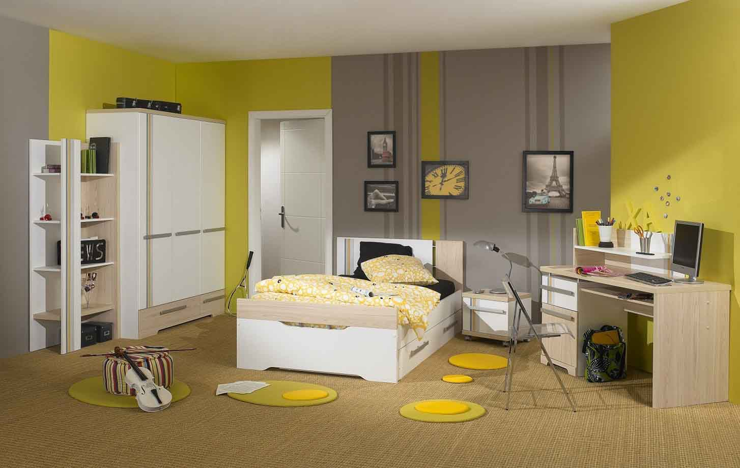 Creative Grey Yellow Bedroom