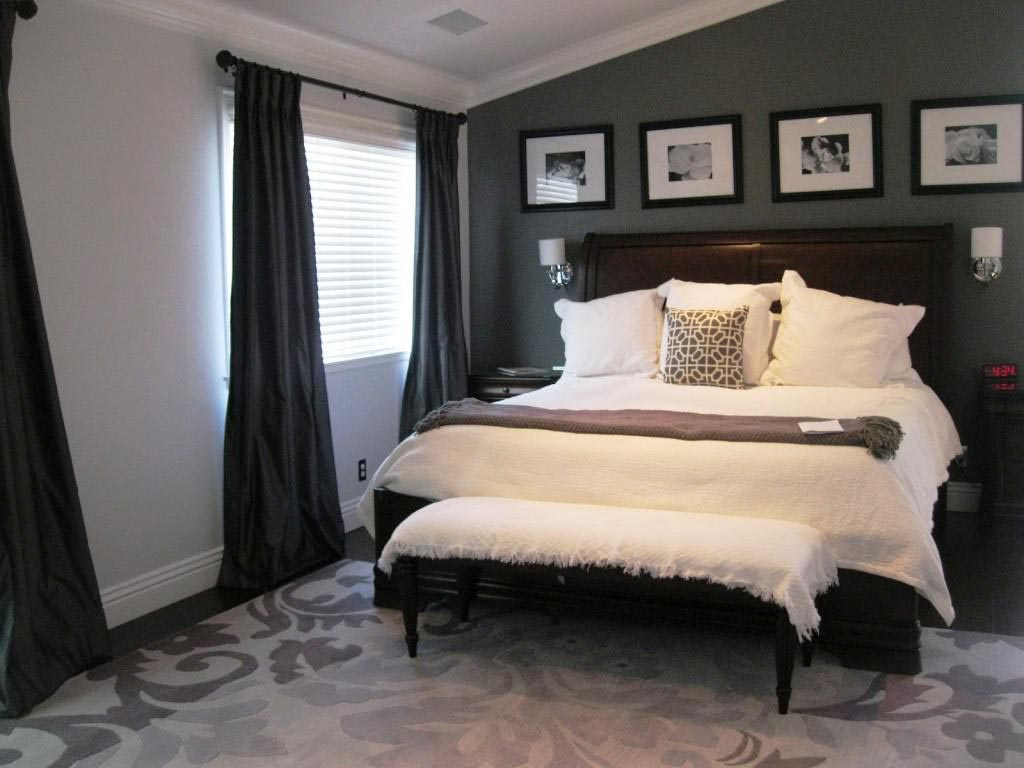 Dark Grey Bedroom With Designer Flooring