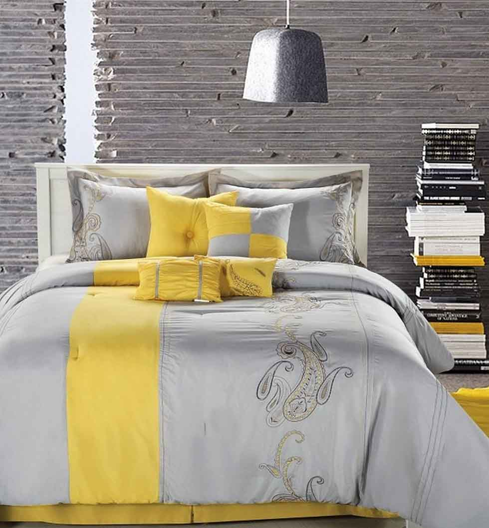Delightful Grey Yellow Bedroom With Designer Bedding