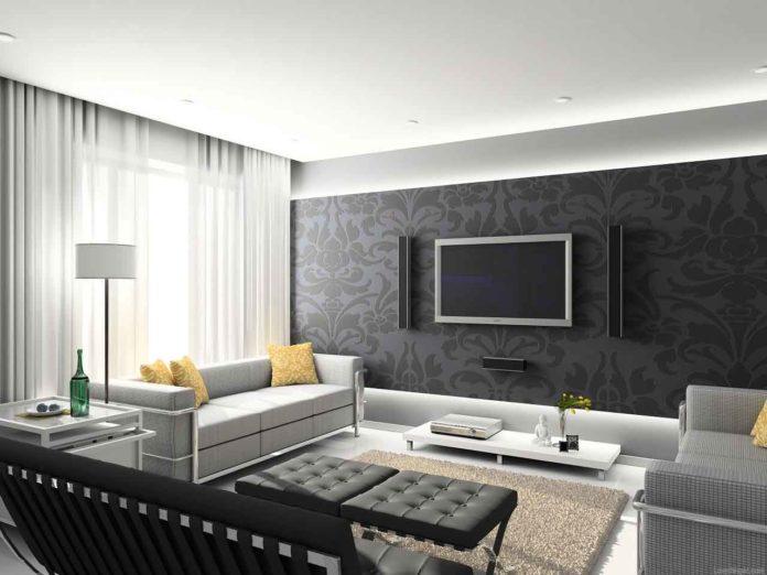 gray-wallpaper-in-white-living-room