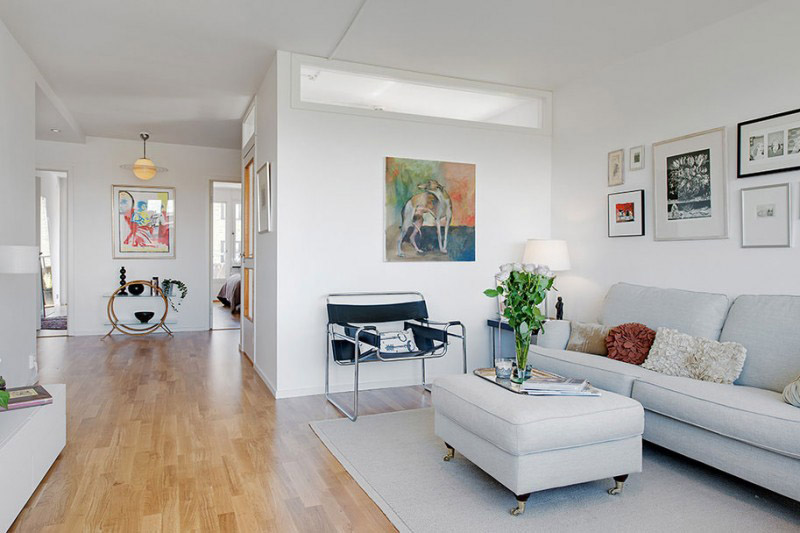 White Living Room Ideas Part - 36: Lively White Living Room With Wooden Flooring
