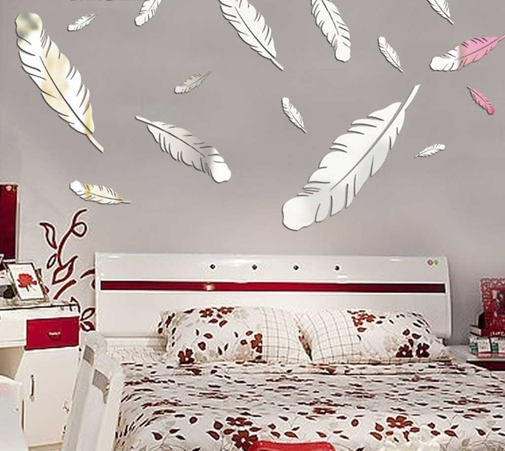 Lovely Feather Wallpaper Design For Bedroom