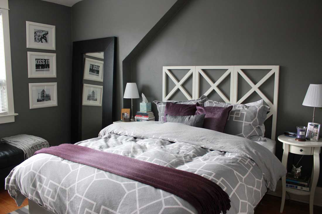 Subtle Grey And Purple Bedroom