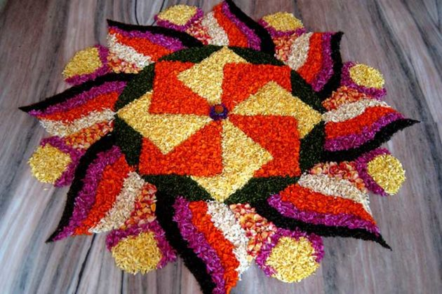 Flower Rangoli Designs for Diwali 7