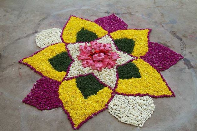 Flower Rangoli Designs for Diwali 9