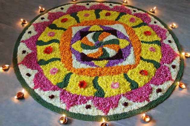 Flower Rangoli Designs for Diwali 1