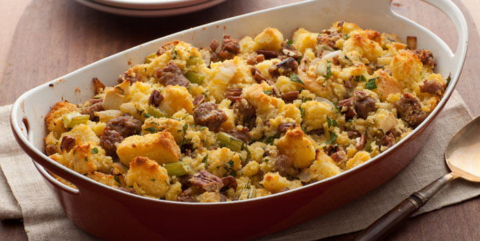cornbread-stuffing-with-apples-and-sausages thanks giving food