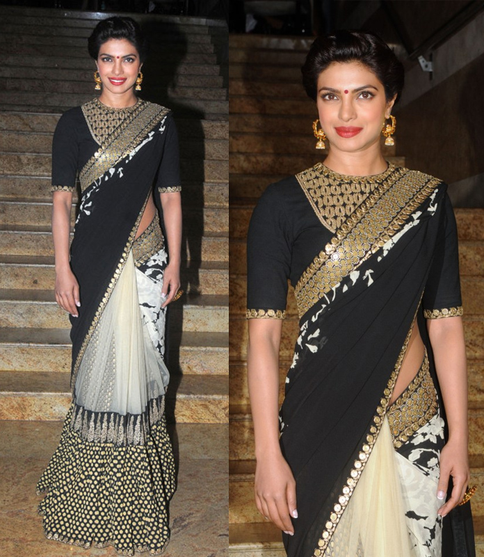 stunning-priyanka-chopra-in-black-saree-new