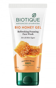 Biotique facewash used with almond oil for dark circles