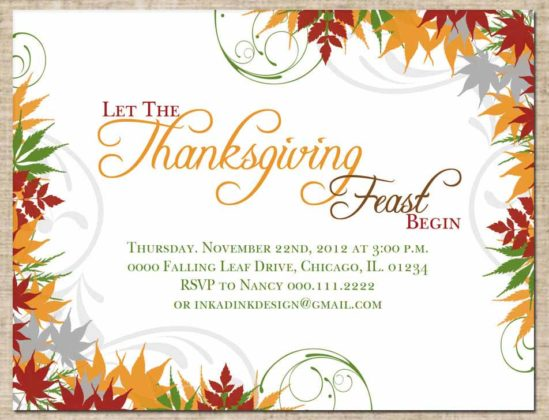 Thanksgiving Invitation Cards 1