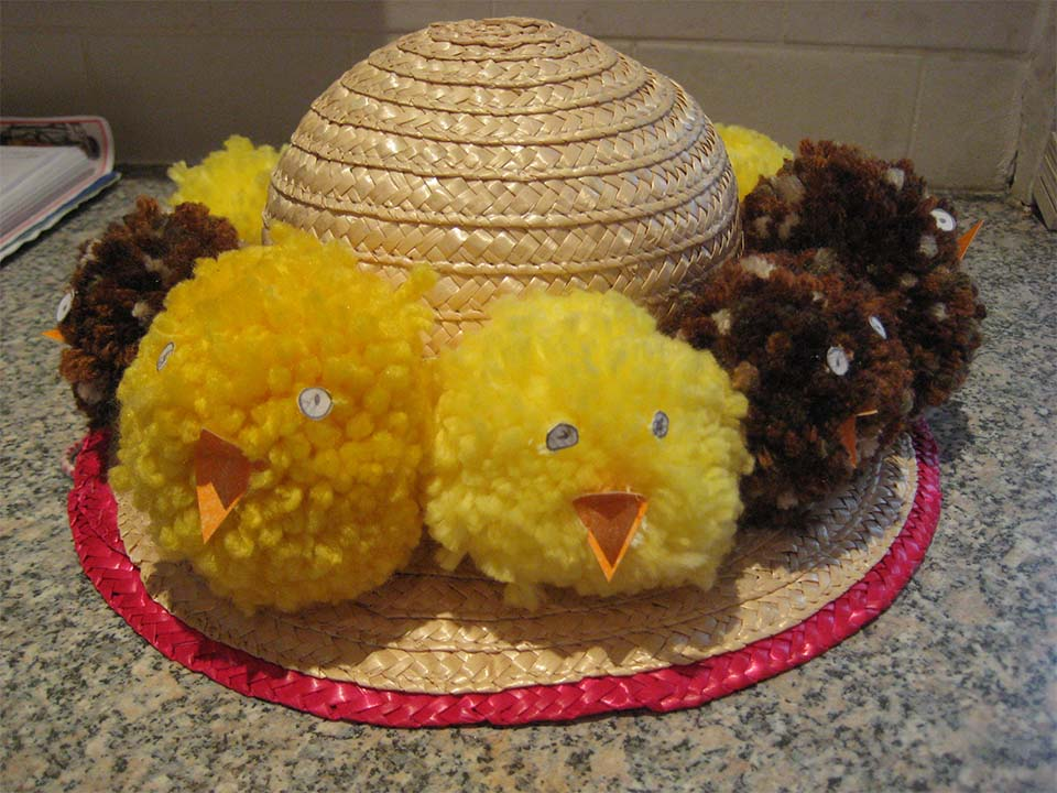 Easter Chick Pom Pom Hat