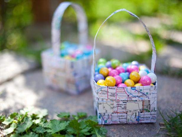 Paper Map Easter Basket