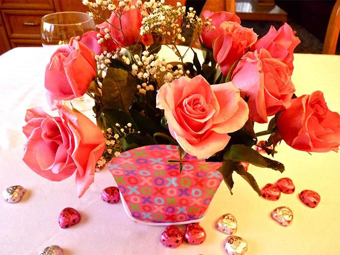 Rose Arrangement on Tablecenterpiece