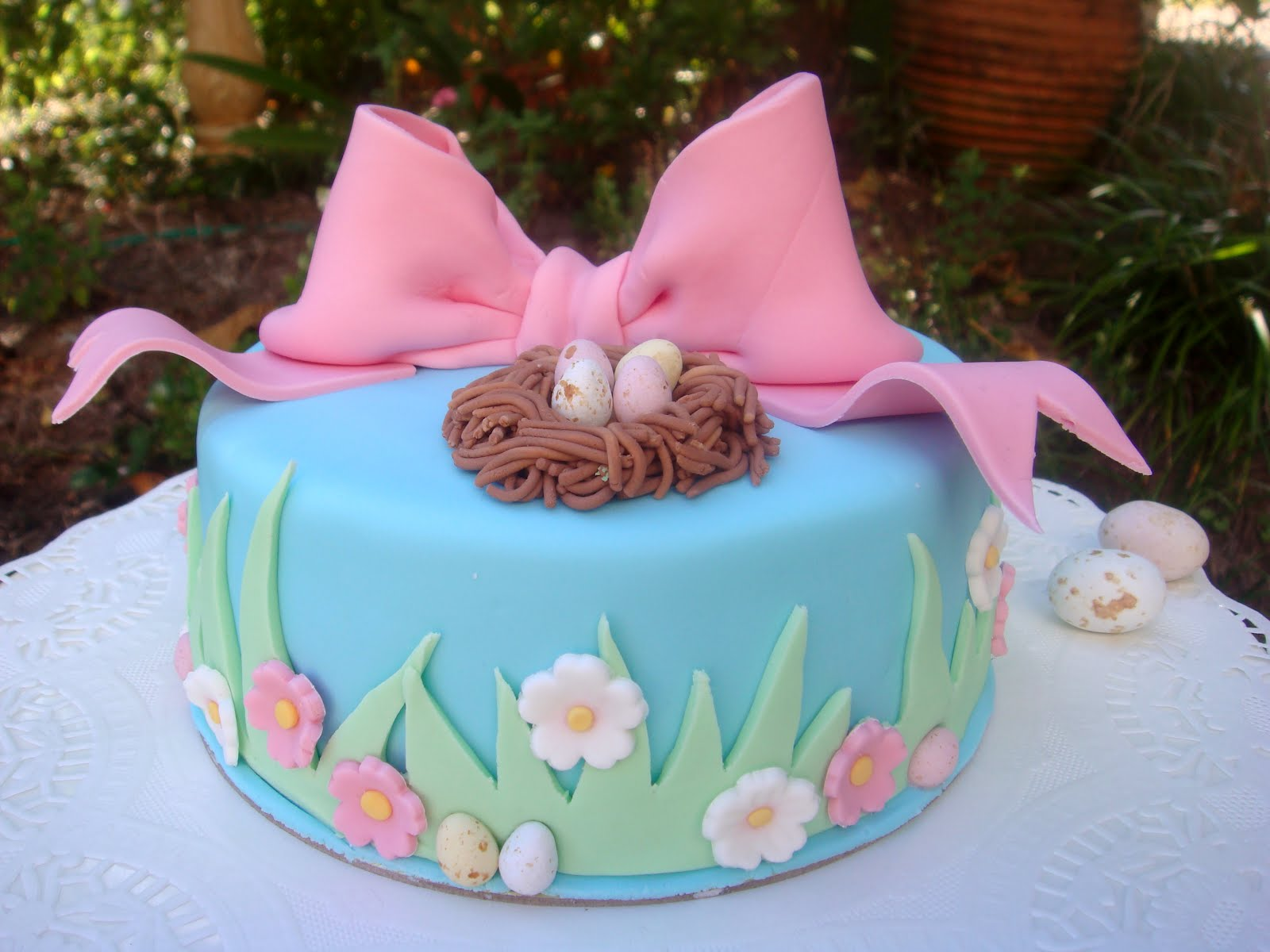 Blue Easter Cake Decor