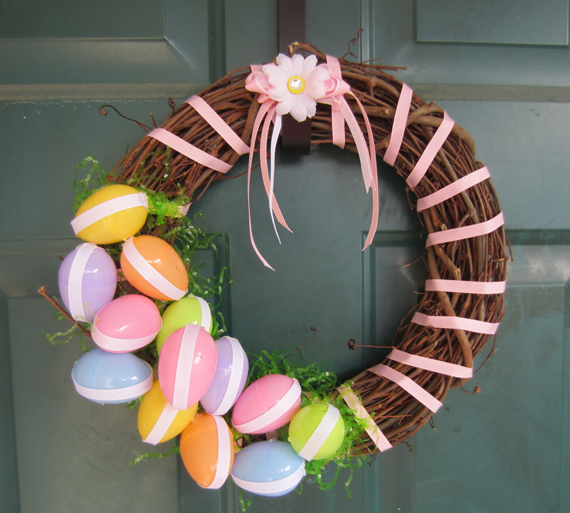 Colorful Easter Wreath for Front Door