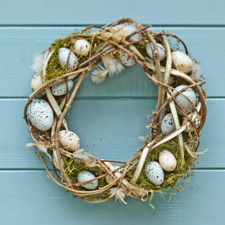 Easter Egg and Feather Wreath