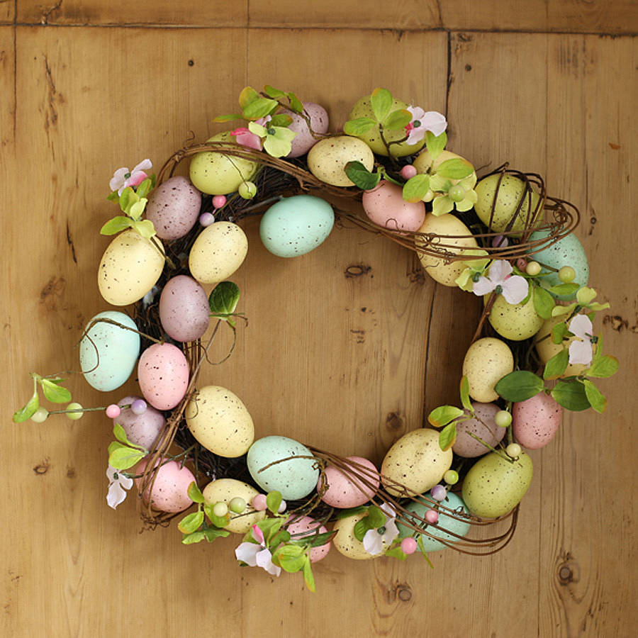 Pastel Easter Egg Wreath With Twigs