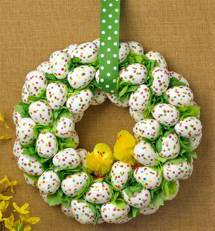 Polka Dots Easter Egg Wreath