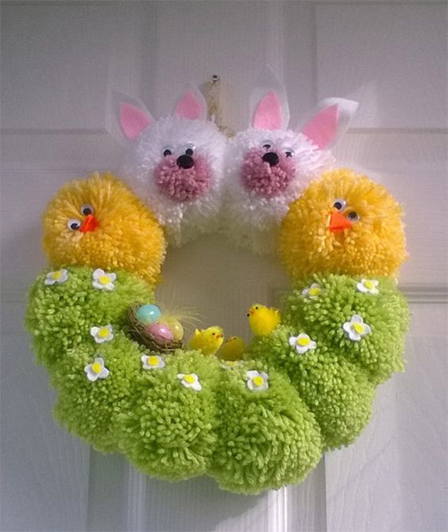 Pom Pom Wreath for Easter