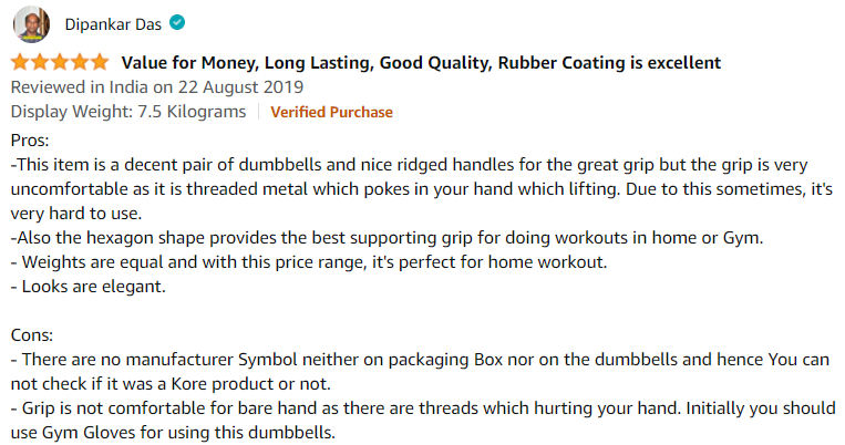 customer review for the workout dumbells.