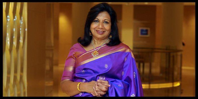 entrepreneur Kiran Mazumdar Shaw wearing blue saree