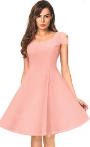 Pink Party Dress with a Unique Apple-Cut