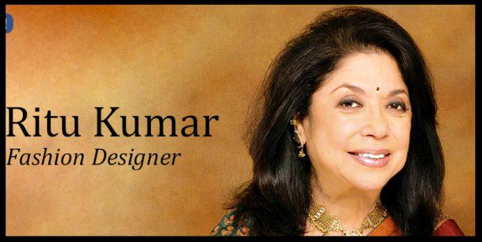 women entrepreneur ritu kumar in her new designer outfit