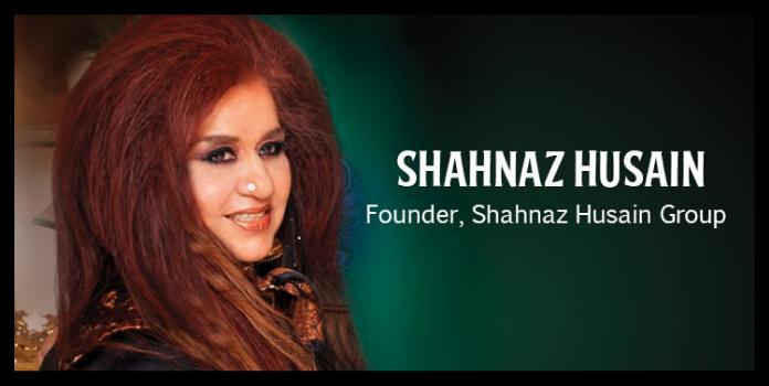entrepreneur Shahnaz Hussain wearing black dress